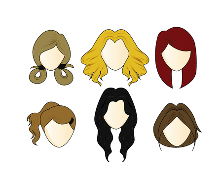 black wigs: Vector Set girl s Hairstyle