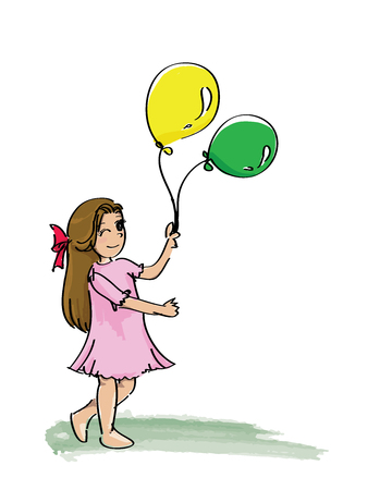 happy young girl with balloon  Vector