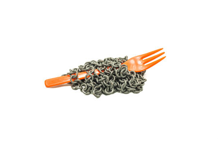 chain and fork isolated on white  Concept diet,control eating