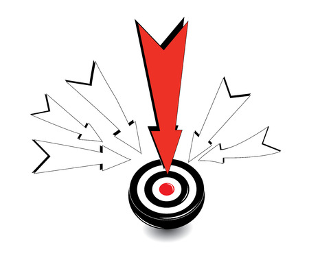 Black Dartboard with red Arrow  Hitting A Target Illustration
