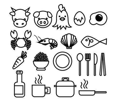 cookware: Set de Alimentaci�n y Bebida Icono incluye ingredientes y utensilios de cocina Vectores
