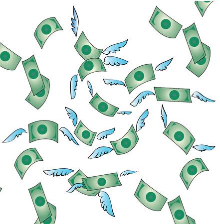 flying money: dinero con el dinero del vuelo ala libertad de vectores Vectores