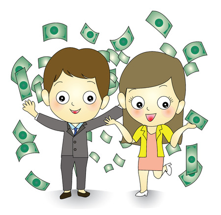 Happy winner with money flying around business couple  Illustration