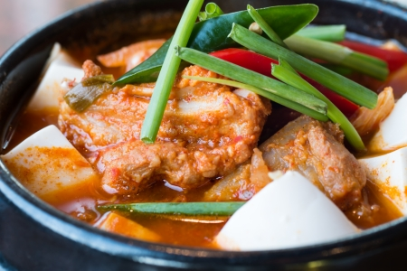 kimchi chigae, korean style soup , hot and spicy