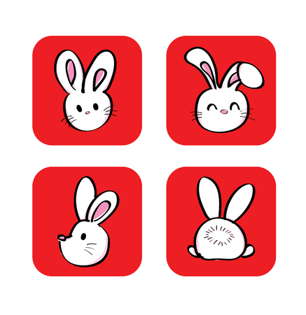set of cute white rabbit with different side view vector Vector