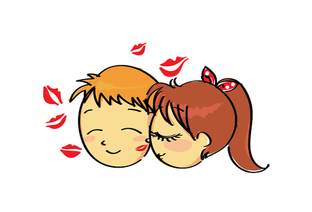 Inlove cute couple kissing with lipstick mark on his face Vector