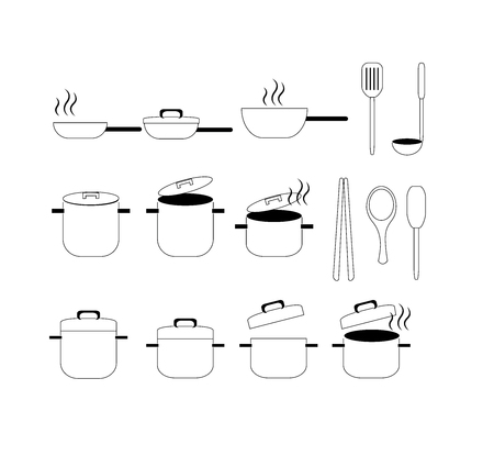 boiling water: collection of kitchen tool -pot, pan icon vector