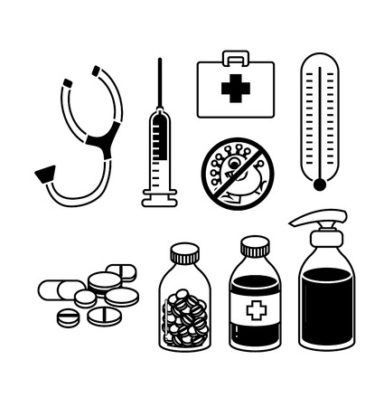 medical equipment and medicine icon set vector Vector