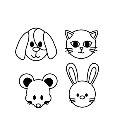 set of pet icon concept pet lover  cat,dog,mouse,rabbit  vector Vector
