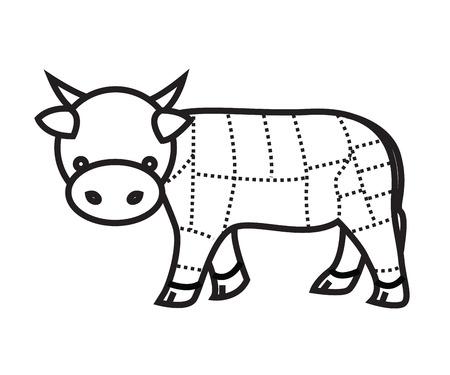 rumsteak: coupes de boeuf Graphique isol� sur fond blanc vecteur