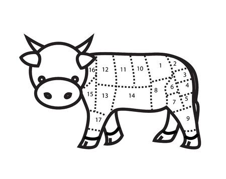 rumsteak: Le boeuf coupe Tableau vache isol� sur fond blanc vecteur