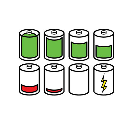 Set of Battery Indicator Icons  Vector
