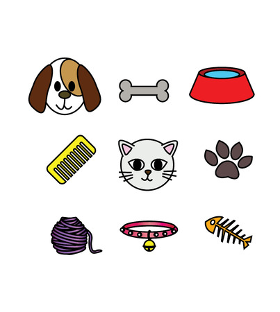 set of cat and dog icon concept pet lover  Vector