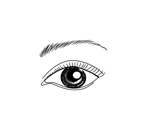Eye hand draw sketch  vector illustration for cosmetic and make up Illustration