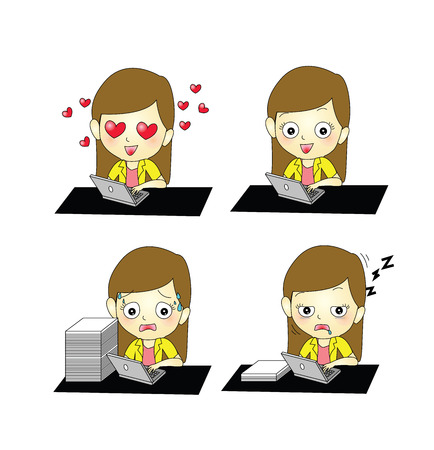 inlove: set of businesswoman working on laptop with different emotion In-love,happy,tired,sleepy