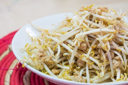 stir fry bean sprout with mince pork photo