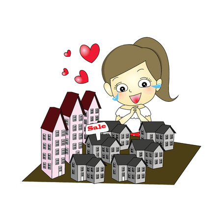 happy young girl selecting Apartment and house with sale sign Vector