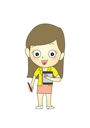 Smile Businesswoman with notebook and pen Stock Vector - 24814358