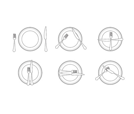 Dining etiquette,Utensils signal Vector