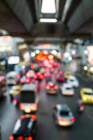 Abstract Blur traffic and car lights bokeh in rush hour photo