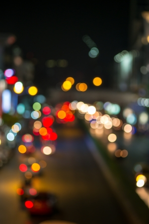 Abstract Blur traffic and car lights bokeh in rush hour background photo