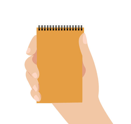 hand holding notepad  vector icon Vector
