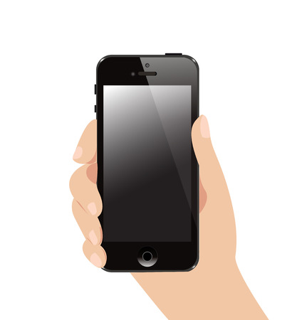 Vector Hand Holding Black Business Smartphone