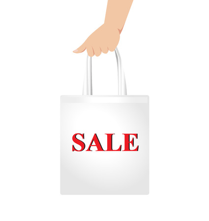 Hand holding white shopping bag with red sale sign Vector Vector