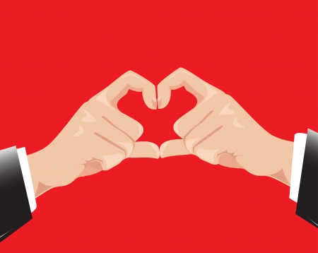 shaping: Businessman hands shaping a heart symbol Vector illustration