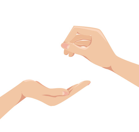 human arms: Two human arms   concept give and receive