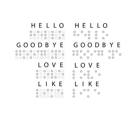 addio: Semplice parola Amore, Ciao, Arrivederci braille