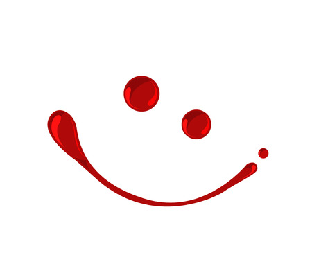 Blood, jam, ketchup or red paint droplets smiley  vector Vector