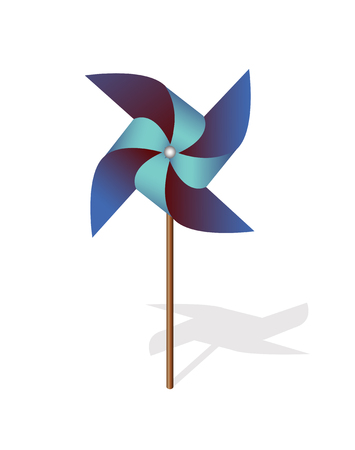 wind mill toy: Blue pinwheel 3d  vector