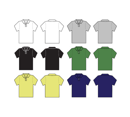 tee shirt: set of polo shirt front and black with different color template -vector
