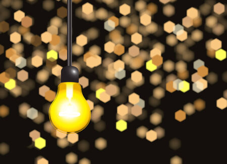 Abstract light bulb with beauty bokeh Vector