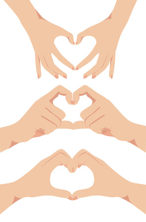 set of Female hands form a heart symbol vector illustration   Vector