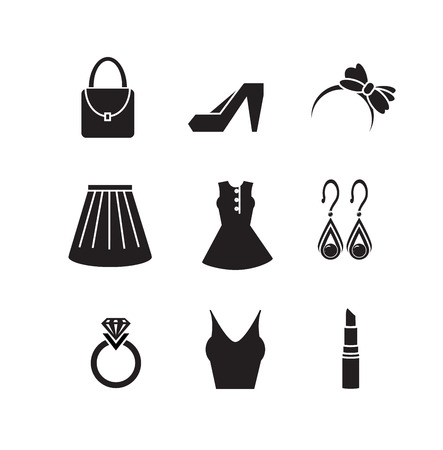 set of girl accessories icon vector