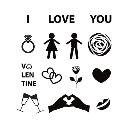 Set of  Valentine day love icon Vector