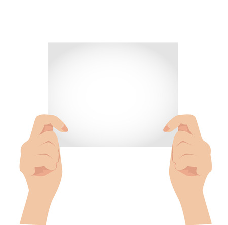 Vector two hand of woman holding white blank paper Vector