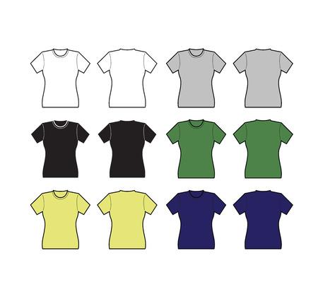 t shirt blouse: Set of Female T-shirt template