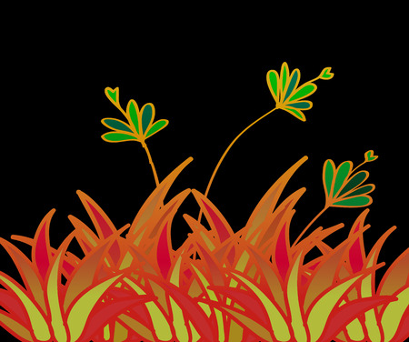 Flower stained glass window vector