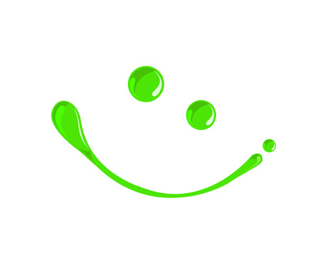 Green, Eco,toxic,chemical Venom or poison paint droplets smiley  vector Vector
