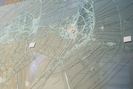 the broken windshield in car accident