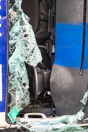 the broken windshield in car accident photo