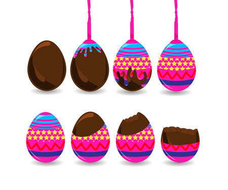Step of making easter egg Vector