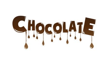 Chocolade tekst gemaakt van chocolade smelten vector design element Stock Illustratie