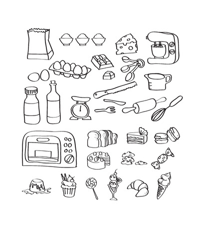 Mix hand tekenen set van bakkerij-apparatuur en dessert pictogram Stock Illustratie