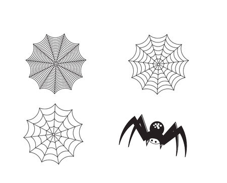 Set of silhouette spider and web Vector