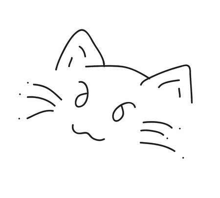 Calligraphy cute cat  Vector