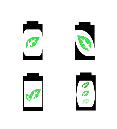 silhouette battery with green leaf icon  Ecology concept Illustration
